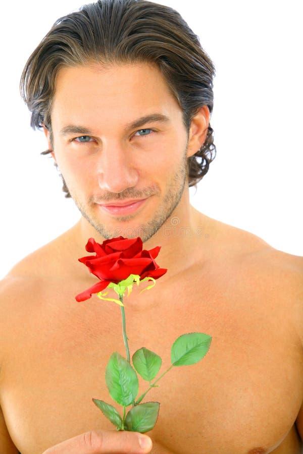 jeunes attrayants de rose de rouge d'homme de fixation photo libre de droits