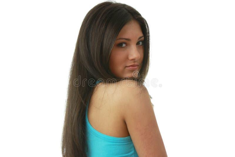 jeunes avec du charme de verticale de beau brunette image libre de droits
