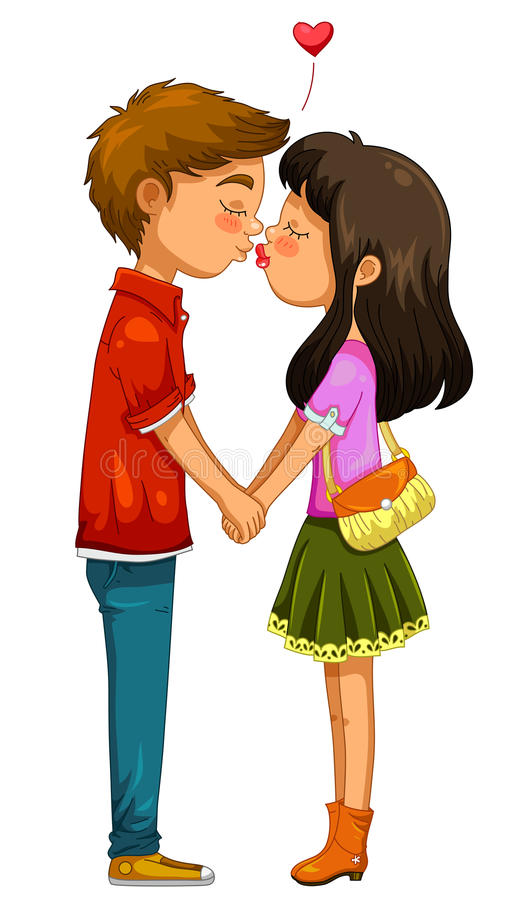 Jeunes baisers de couples illustration libre de droits