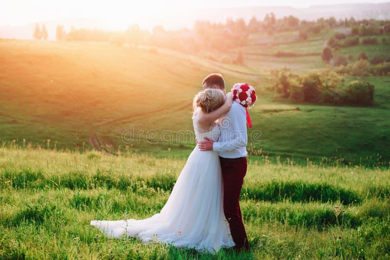Jeunes beaux couples de mariage étreignant dans un domaine image stock