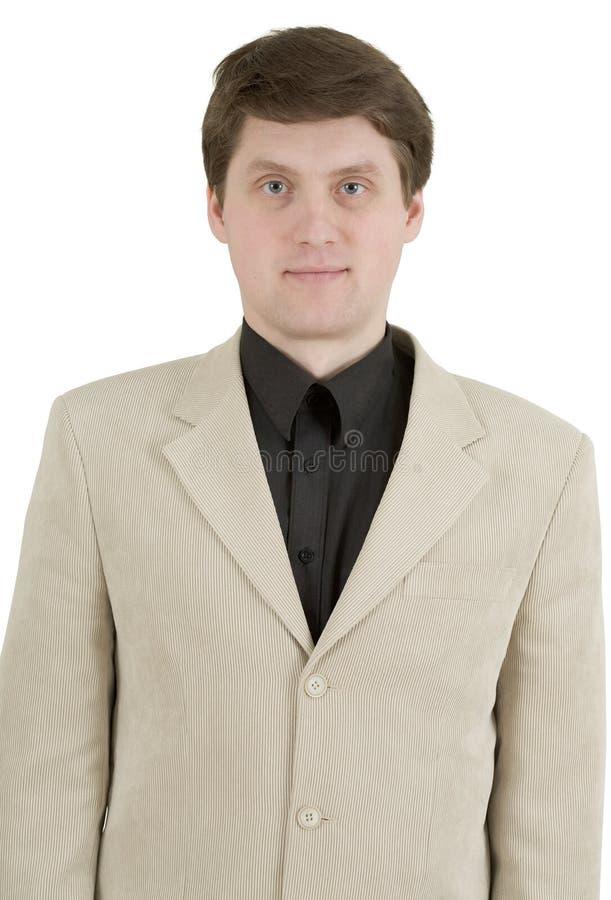jeunes beiges de procès de verticale d'homme d'affaires photos stock