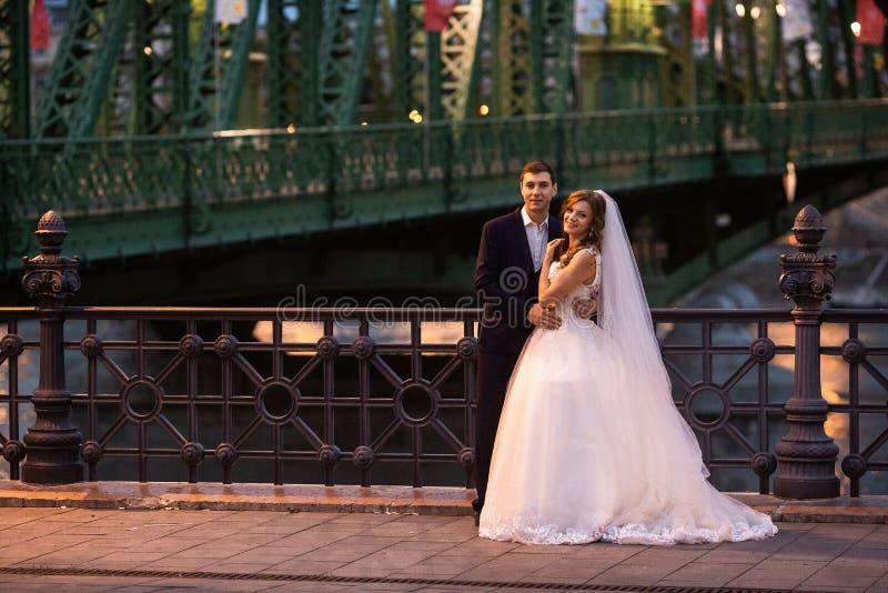 Jeunes belles paires élégantes de nouveaux mariés près de la rivière à Budapest photographie stock