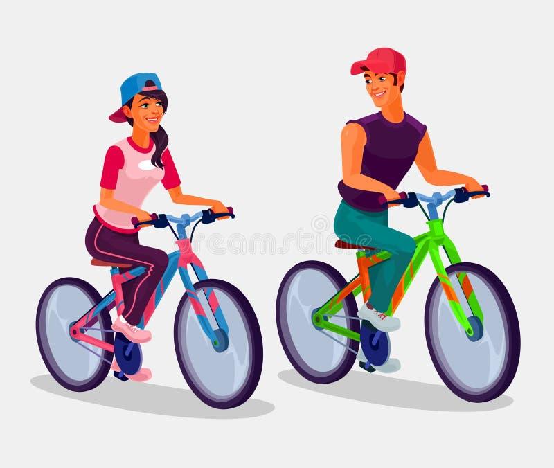 Jeunes bicyclettes d'équitation de garçon et de fille illustration stock