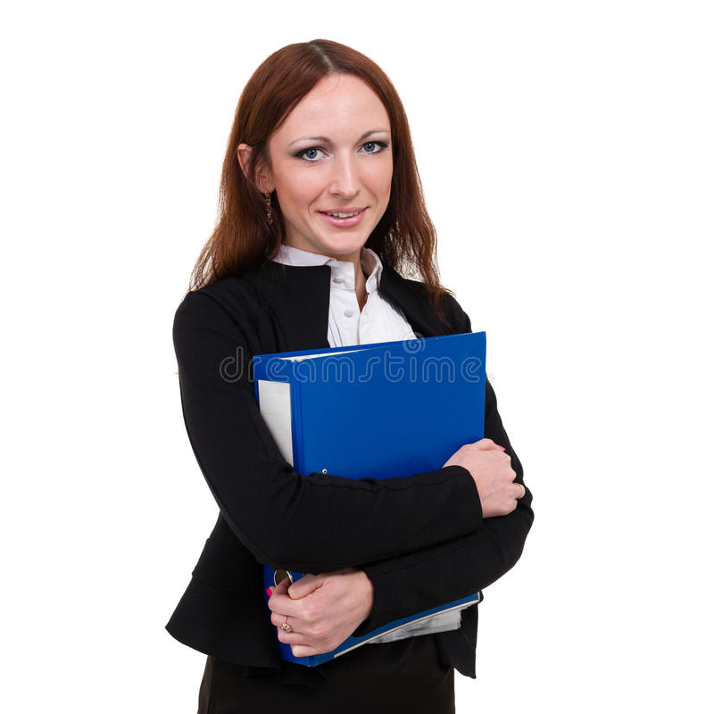 jeunes blancs d'isolement par dépliant de femme d'affaires images stock