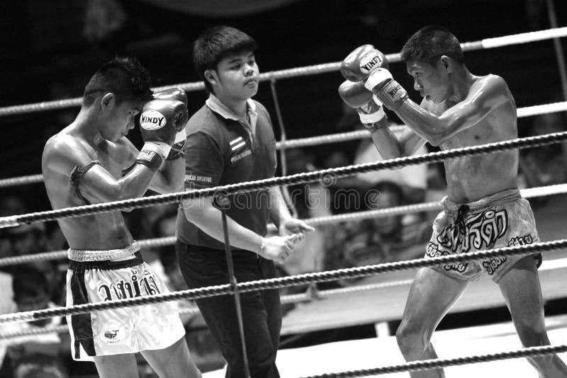 Jeunes boxeurs thaïlandais combattant sur le ring photos stock