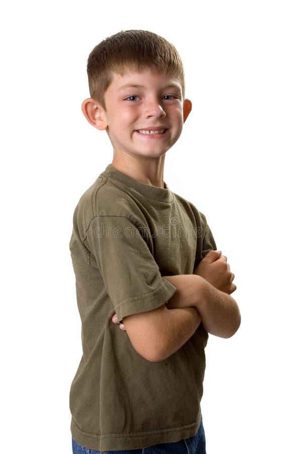 Jeunes bras de verticale de garçon pliés photos libres de droits