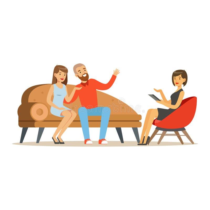 Jeunes caractères de couples de famille parlant au psychologue féminin au sujet de leurs problèmes, consultation de psychothérapi illustration libre de droits