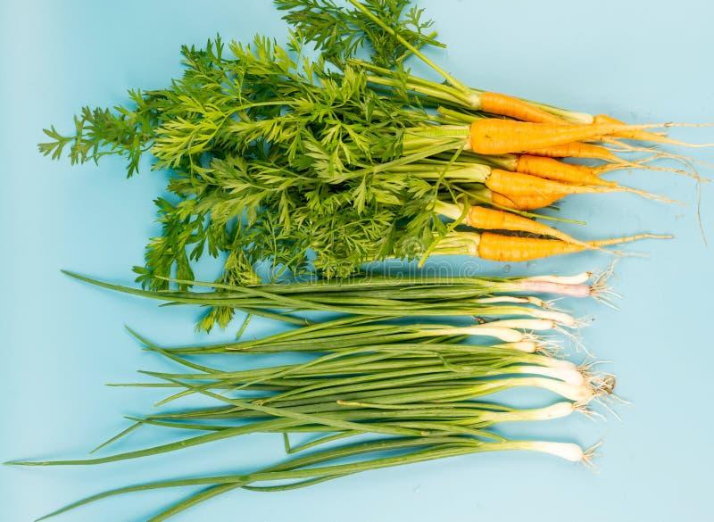 Jeunes carottes avec une tige verte et oignon sur un fond de turquoise photographie stock libre de droits