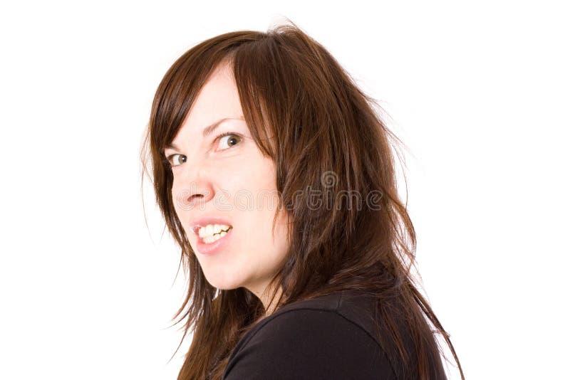 Jeunes chargés, femelle frustrante, d'isolement photographie stock