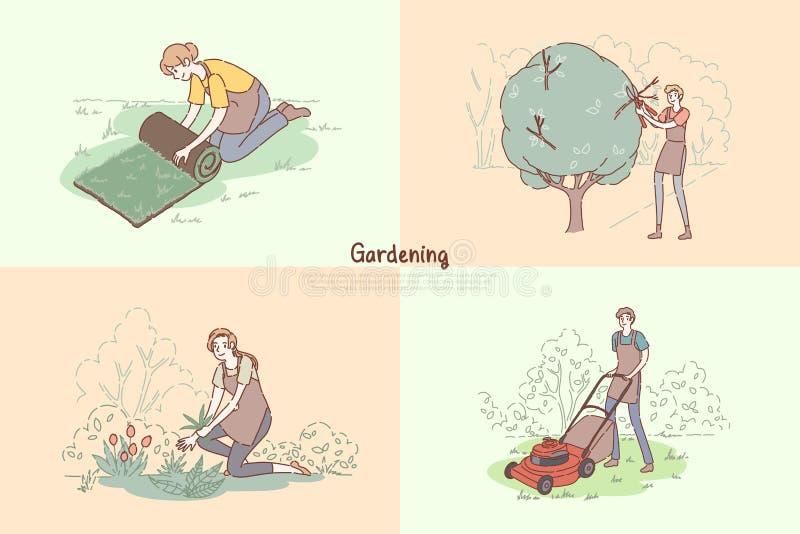 Jeunes corvées de jardiniers, pelouse s'étendant, arbres élagage, plantant des fleurs, herbe fauchant, bannière de jardinage de s illustration libre de droits