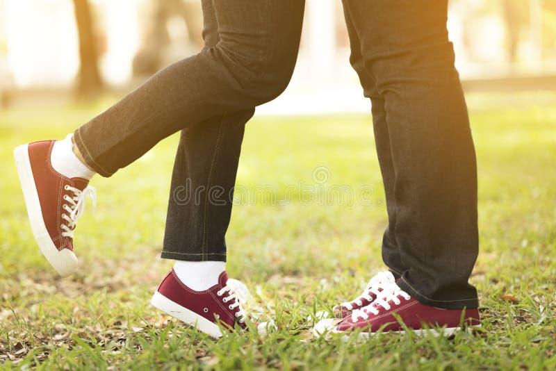 Jeunes couples affectueux étreignant et embrassant en parc image libre de droits