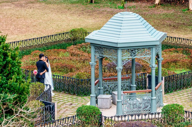 Jeunes couples affectueux asiatiques sur le mariage embrassant et embrassant par le pavillon dans le jardin sur Victoria Peak en  photos libres de droits