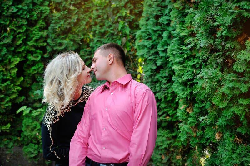 Jeunes couples affectueux en parc photos stock