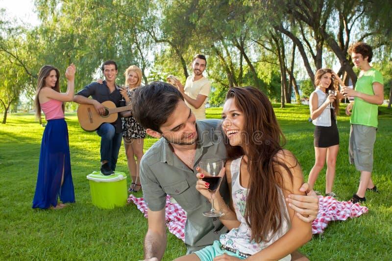 Jeunes couples appréciant un pique-nique avec des amis photo stock