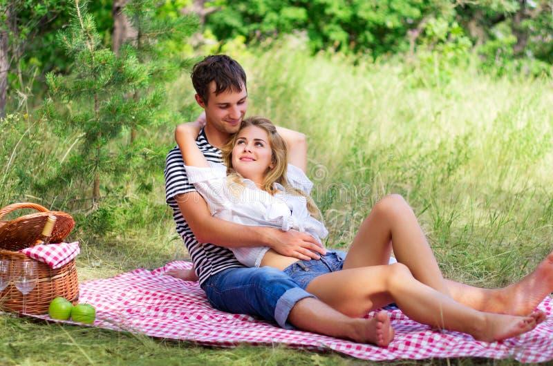 Jeunes couples au pique-nique image stock