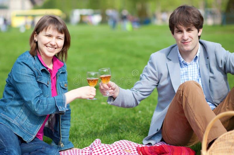 Jeunes couples ayant un pique-nique photographie stock libre de droits
