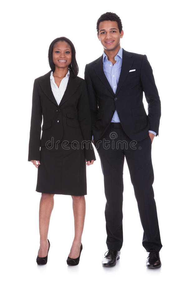 Jeunes couples d'affaires de portrait images stock