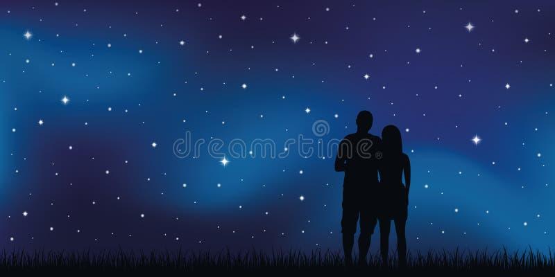 Jeunes couples dans des regards d'amour dans le ciel étoilé illustration de vecteur