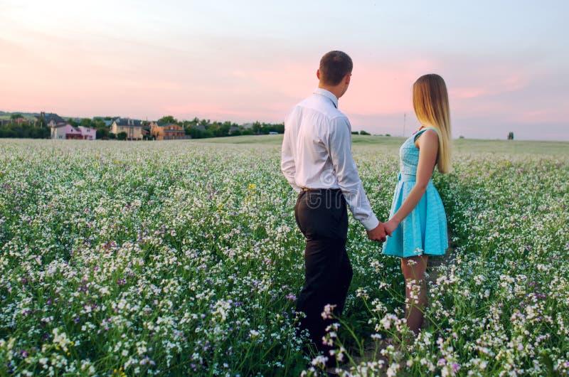 Jeunes couples dans l'amour dans le domaine d'été photos libres de droits