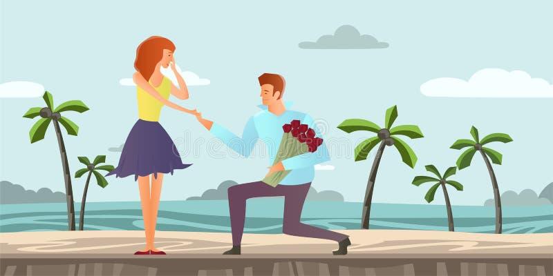 Jeunes couples dans l'amour Homme et femme une date romantique sur une plage tropicale avec des palmiers Illustration de vecteur illustration stock