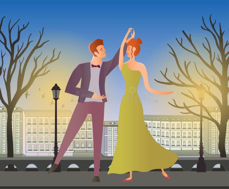 Jeunes couples Danse de salle de bal de danse d'homme et de femme dans la rue de la vieille ville Illustration de vecteur illustration libre de droits
