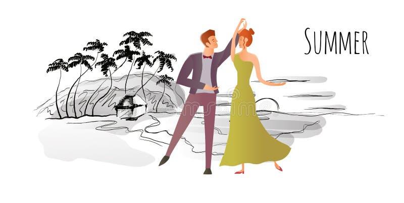 Jeunes couples Danse de salle de bal de danse d'homme et de femme sur une plage tropicale illustration stock
