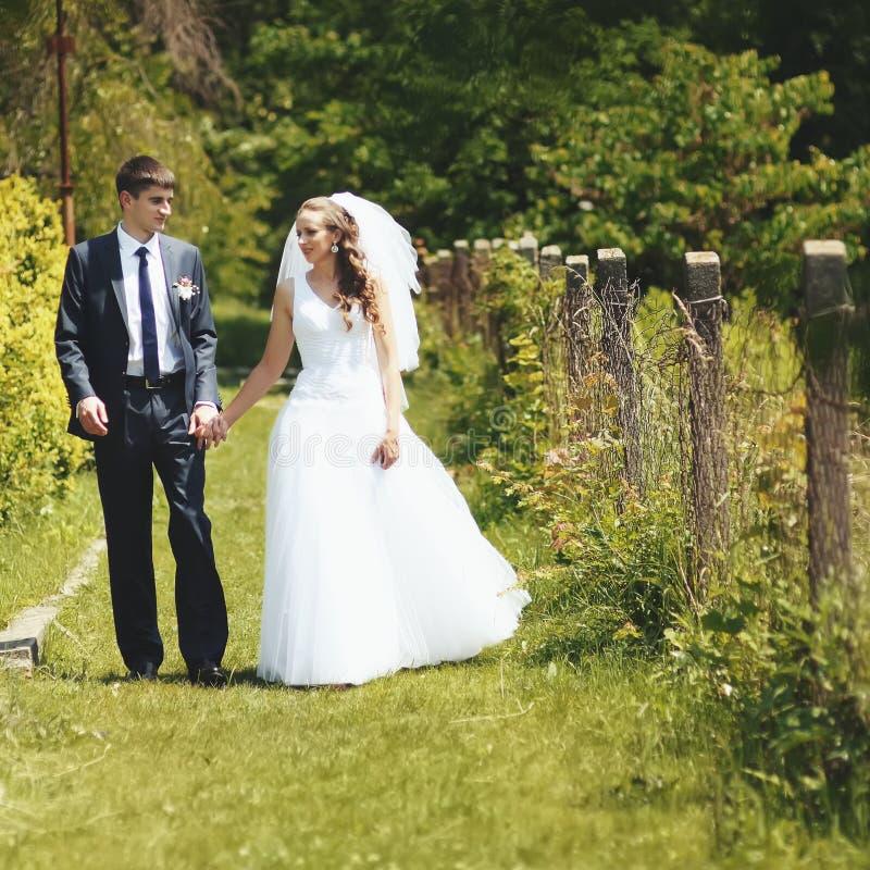 Jeunes couples de mariage marchant en parc. image stock