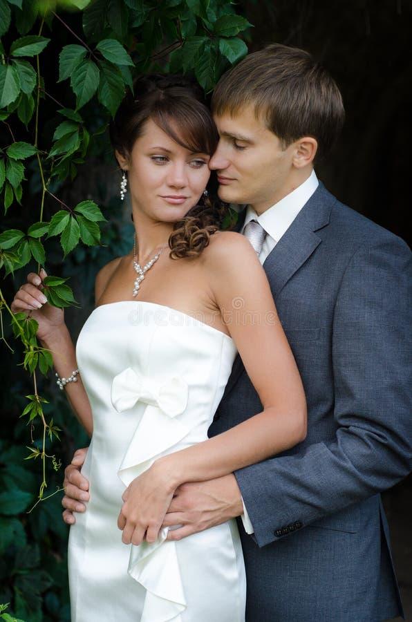 Jeunes couples de mariage posant dehors leur jour du mariage images libres de droits