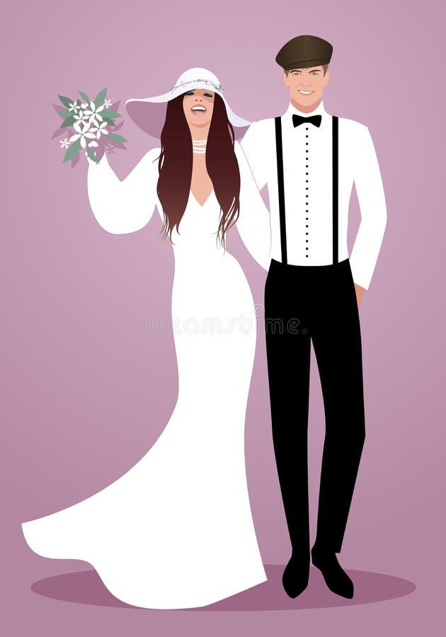 Jeunes couples des nouveaux mariés portant épousant des vêtements Chapeau à large bord de style de hippie pour elle et le béret illustration stock