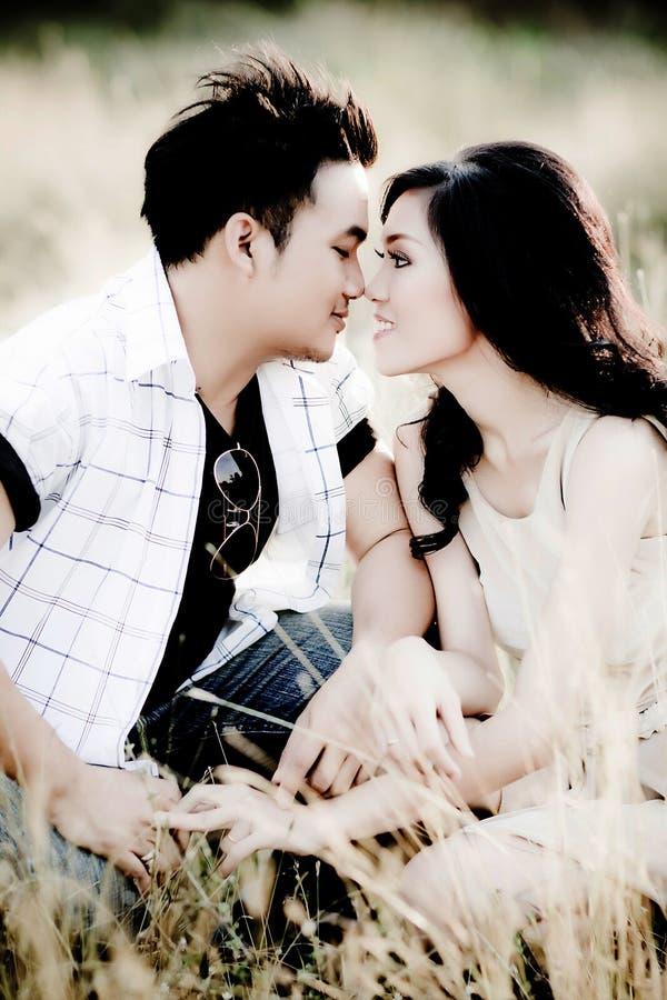 Jeunes couples embrassant dans le domaine d'été photographie stock