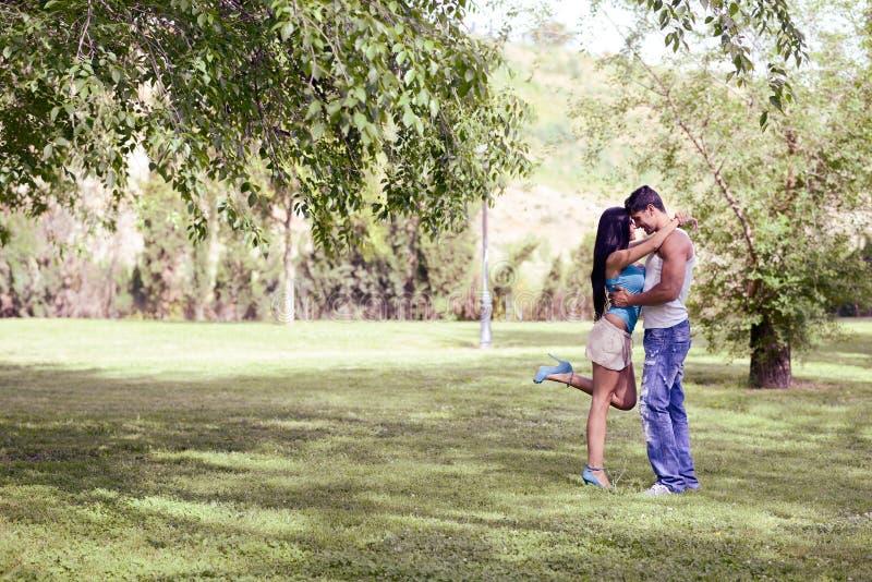 Jeunes couples embrassant en beau parc image stock