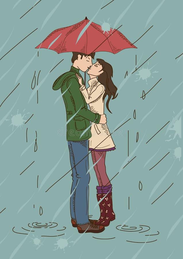 Jeunes couples embrassant sous un parapluie illustration de vecteur