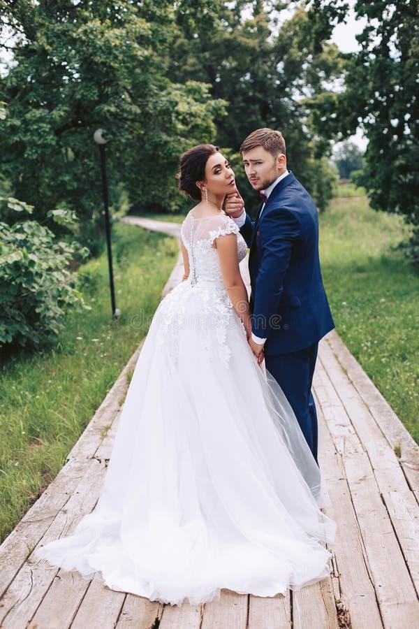 Jeunes couples en parc tourné de retour photo libre de droits