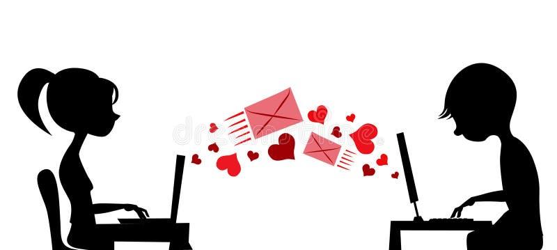Jeunes couples envoyant le courrier d'amour illustration de vecteur