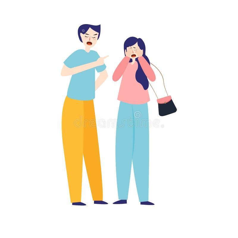 Jeunes couples fâchés combattant et criant à l'un l'autre, aux gens discutant et hurlant, illustration de bande dessinée illustration stock