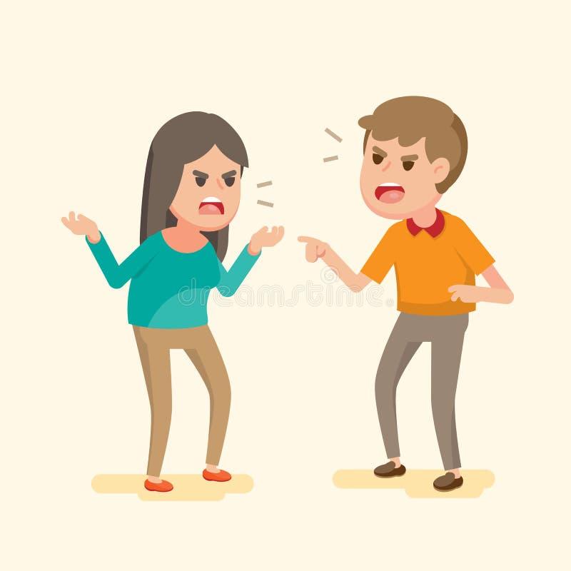 Jeunes couples fâchés combattant et criant à l'un l'autre, aux gens discutant et hurlant, illustration de bande dessinée de vecte illustration libre de droits