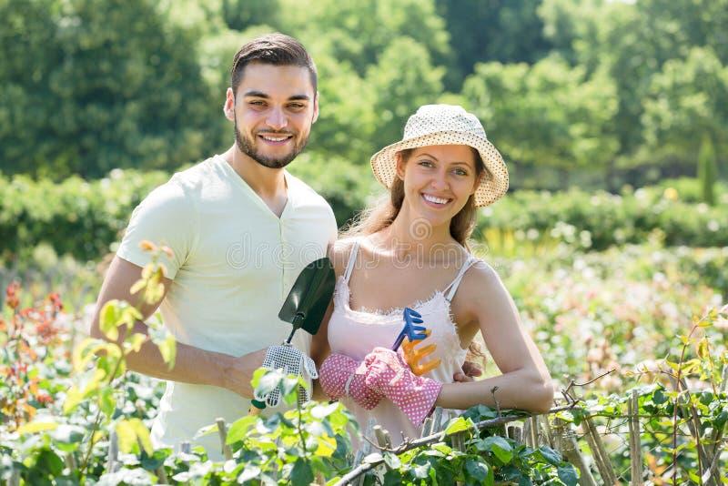 Jeunes couples faisant du jardinage ensemble images stock