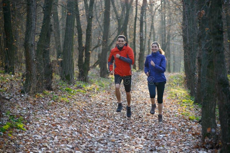 Jeunes couples fonctionnant sur la traînée dans la forêt sauvage image libre de droits