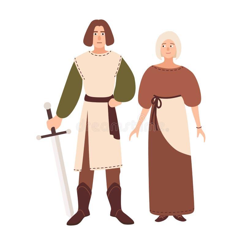 Jeunes couples habillés dans des vêtements de Moyens Âges Ami et amie de sourire Jouer historique de reconstitution et de rôle illustration libre de droits