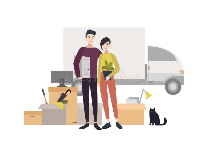 Jeunes couples heureux entrant dans une nouvelle maison avec des choses Illustration de bande dessinée dans le style plat illustration libre de droits