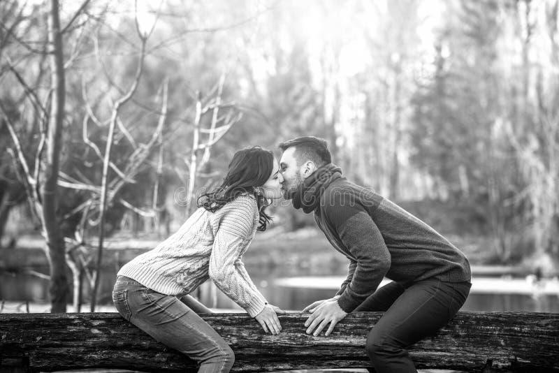 Jeunes couples heureux extérieurs en parc image stock