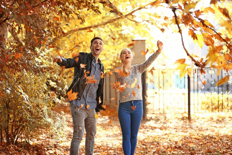 Jeunes couples heureux jouant avec les feuilles tomb?es en parc d'automne photographie stock