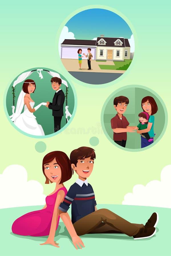 Jeunes couples imaginant leur vie ensemble illustration stock