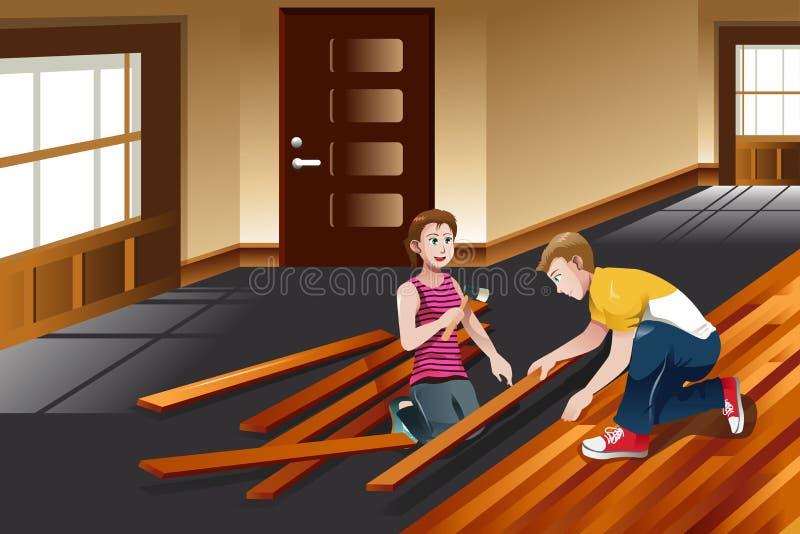 Jeunes couples installant le plancher en bois dur illustration stock