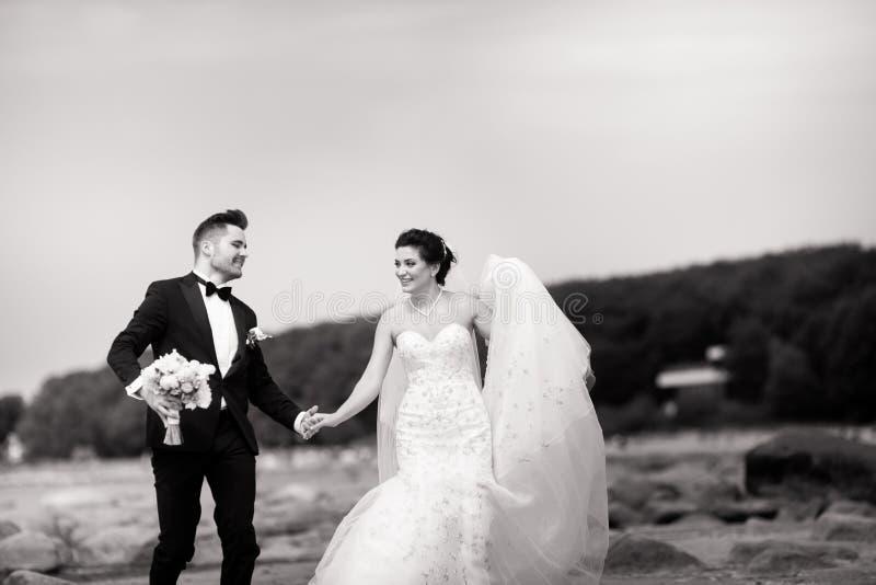 Jeunes couples les ?pousant heureux ayant l'amusement sur la plage Rebecca 36 images libres de droits