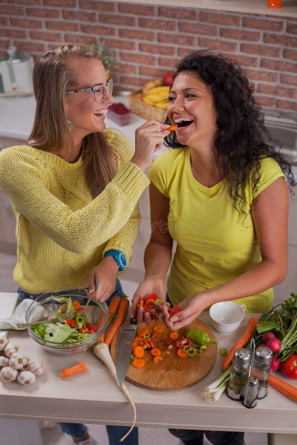 Jeunes couples lesbiens dans la cuisine photo libre de droits