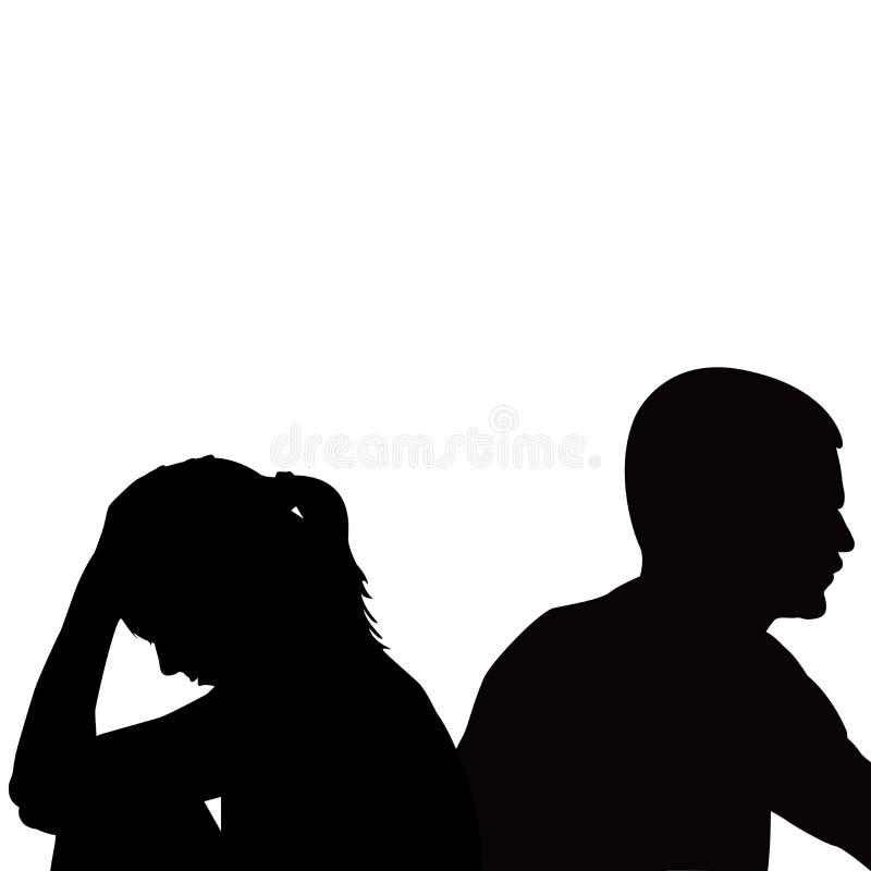 Jeunes couples malheureux tristes ayant des problèmes illustration libre de droits