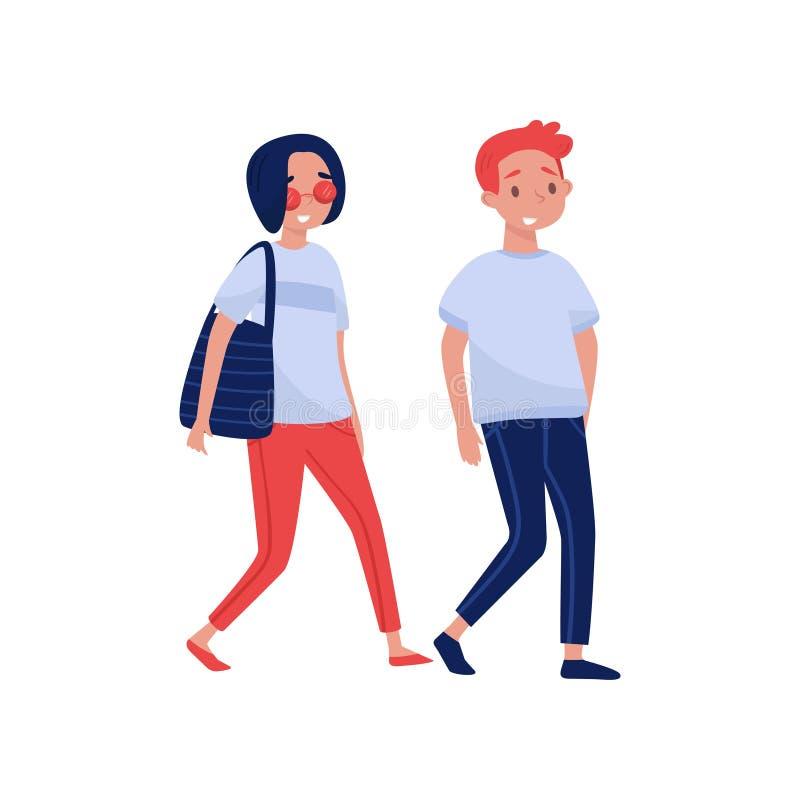 Jeunes couples marchant ensemble Caractères de personnes de bande dessinée Conception plate colorée de vecteur illustration libre de droits