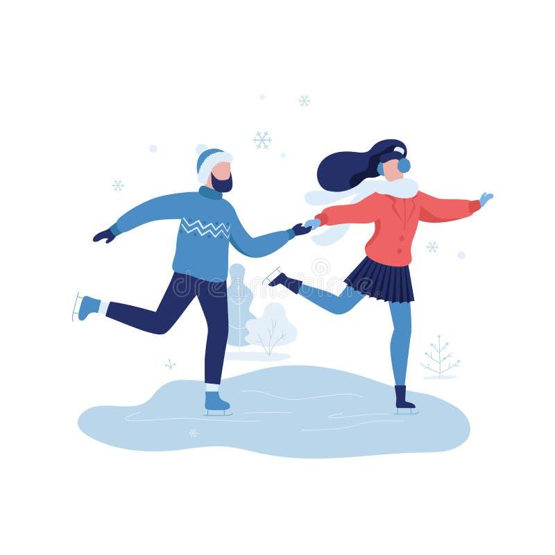 Jeunes couples patinant dans l'illustration plate de vecteur de zone de repos de parc d'hiver d'isolement sur le fond blanc Les g illustration de vecteur