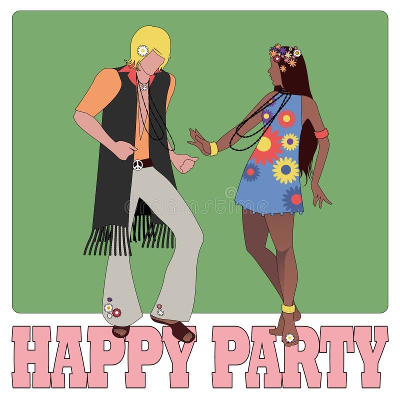 Jeunes couples portant les vêtements hippies des années 60 et de la danse 70s illustration stock